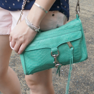 Rebecca Minkoff mini MAC in aquamarine with python embossed leather   away from the blue