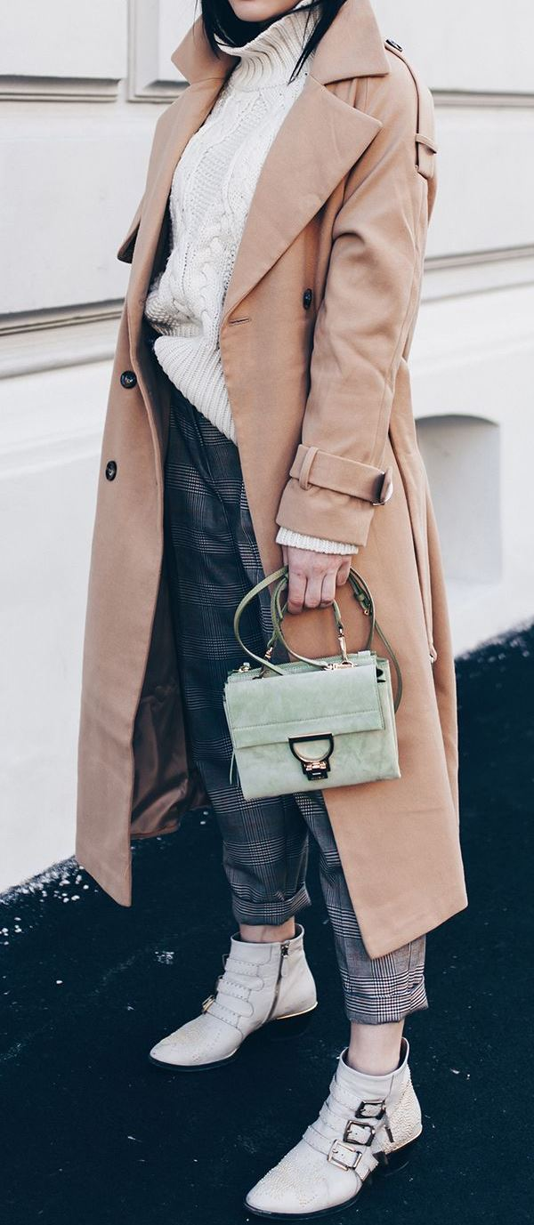beautiful fall outfit / beige coat + plaid pants + bag + boots + sweater