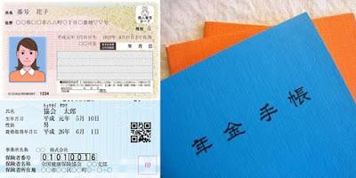 Carteiras do seguro saúde e aposentadoria e o cartão My Number