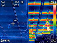 Infrared image of building with and without RetroShield application.