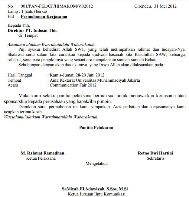surat permohonan kerja sama sponsor