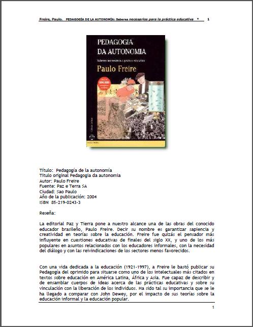 FREIRE PEDAGOGIA DE LA AUTONOMIA