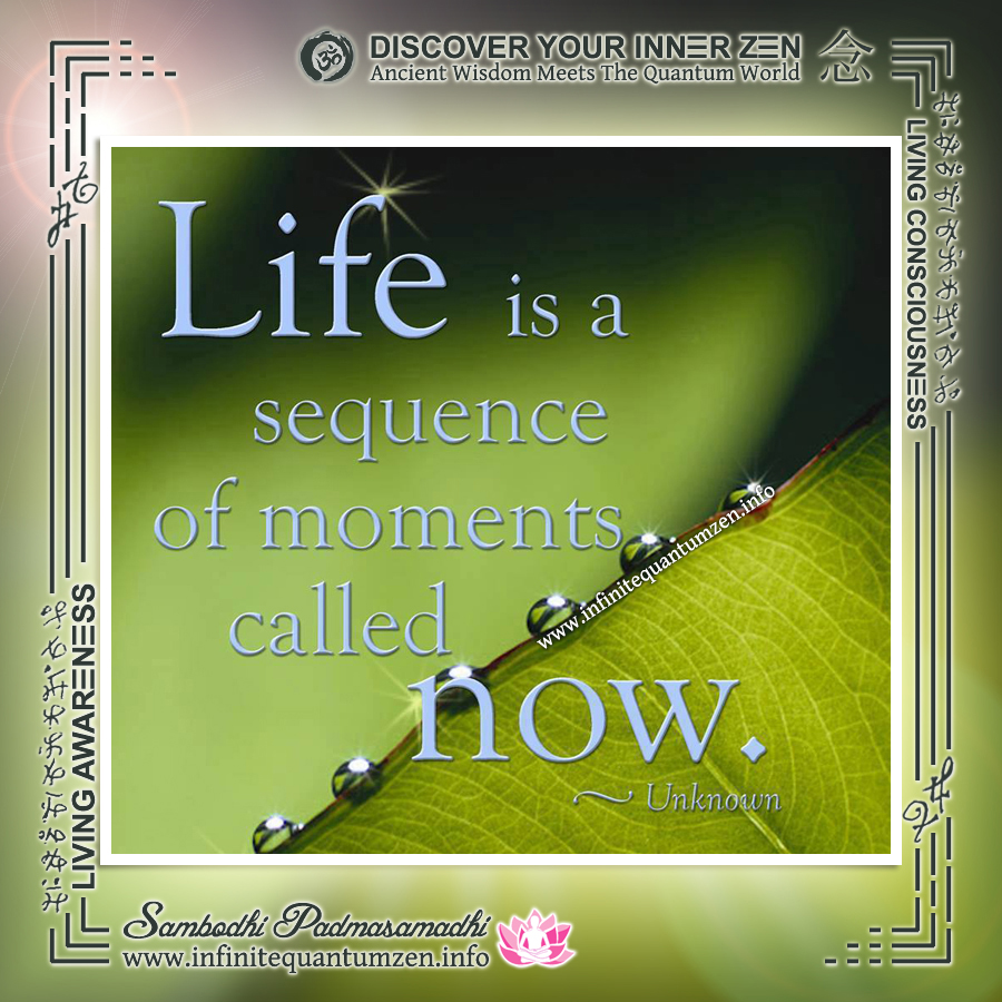 Life is a sequence of moments called Now - Infinite Quantum Zen, Success Life Quotes