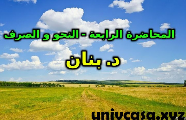 المحاضرة الرابعة - النحو و الصرف د.بنان