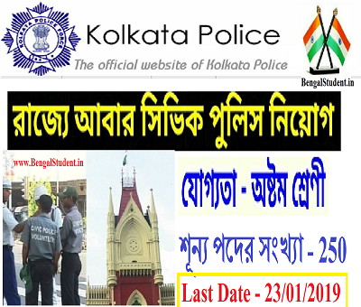 Kolkata Police Civic Volunteers Recruitment 2019 - Apply Now For 250 Posts