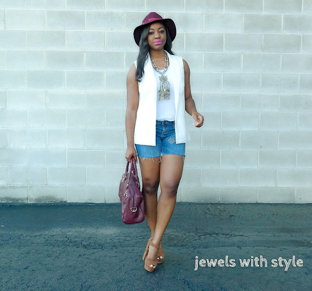 how to dress up shorts, shorts outfit idea, white sleeveless vest, dressy shorts outfit, how to wear shorts, denim cut off shorts, D.I.Y. cut off shorts, D.I.Y. distressed denim, cut off shorts outfit idea, jean cut off shorts, statement necklace, silver statement necklace, jewels with style, columbus personal stylist, columbus ohio stylist, black fashion blogger, black style blogger, how to wear a sleeveless vest