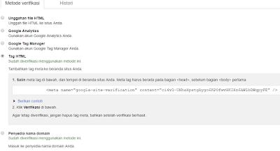 Cara Verifikasi webmaster ke blog dengan benar