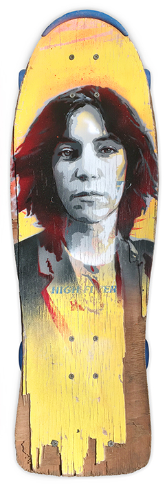 Skateboard artwork of Patti Smith by artist James Straffon