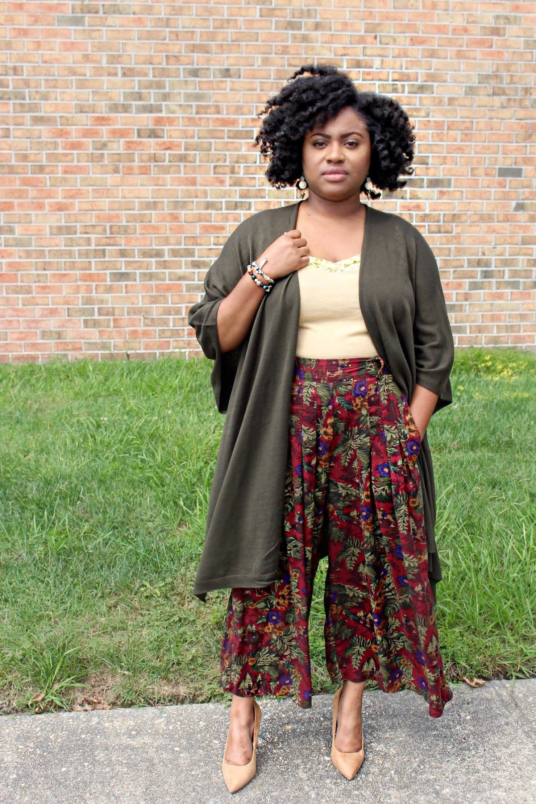 kimono worn with thrift store culottes