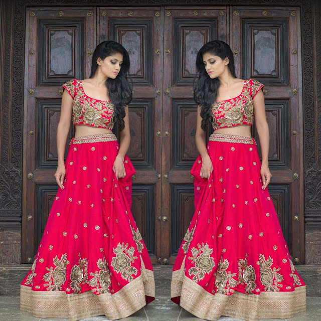 Rose Design Lehenga by Mrunalini Rao