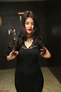Actress Monica in spicy transparent Black Top at O Pilla Nee Valla Movie Audio Launch Feb 2017 035.JPG