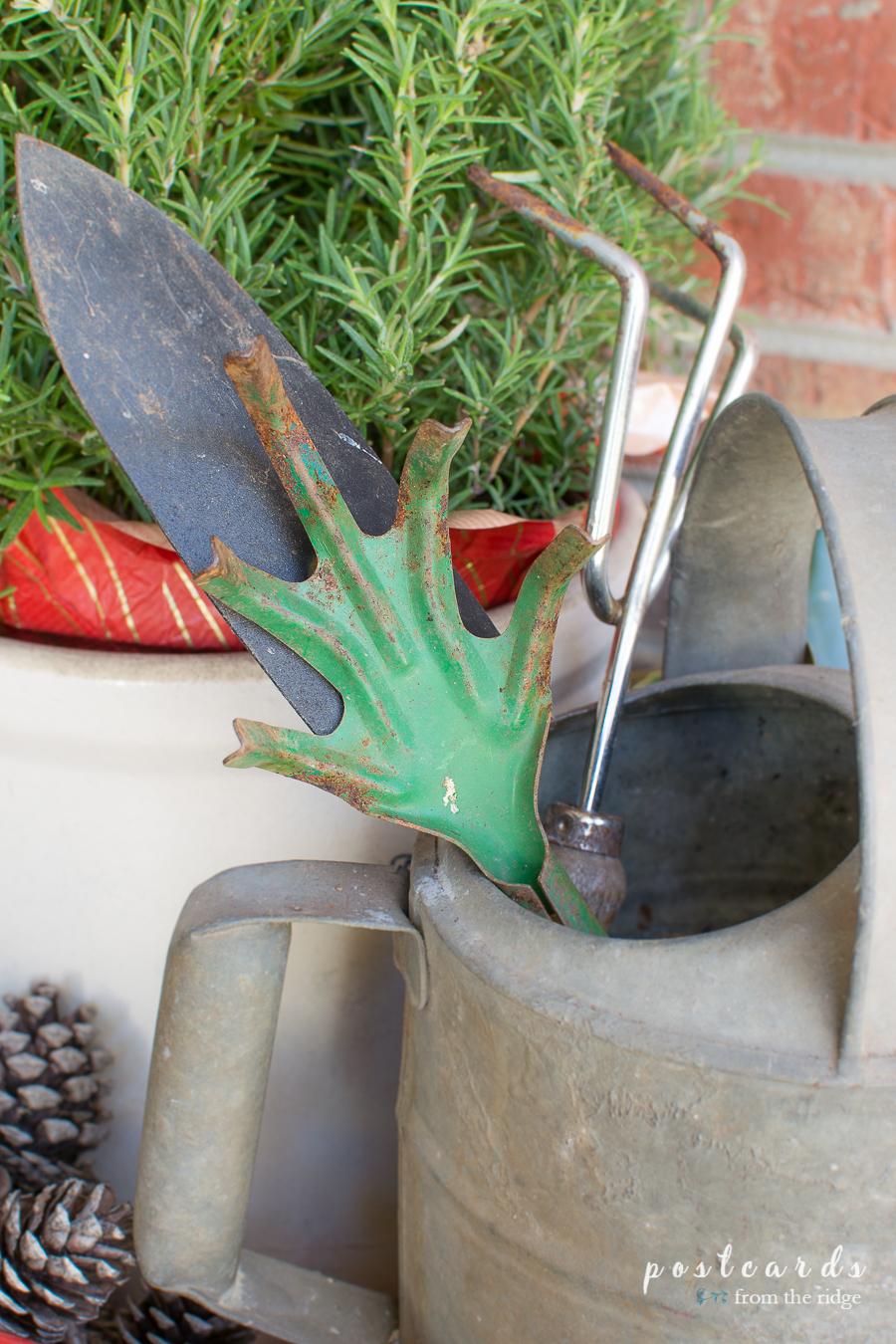 vintage green garden hand fork