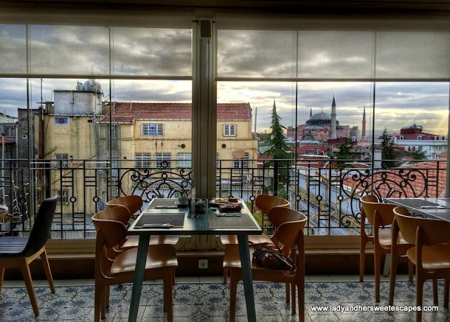 breakfast terrace in Istanbul hotel