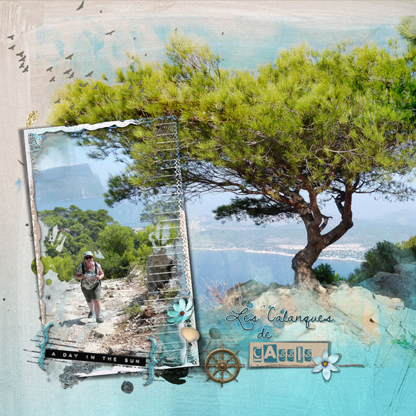 clin d'oeil design clindoeildesign NBK design Beach Memories artsy scrapbook layout out of the frame sea ocean summer template easy to use