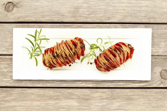 Patatas hasselback con Chorizo Iberico de bellota Redondo Iglesias