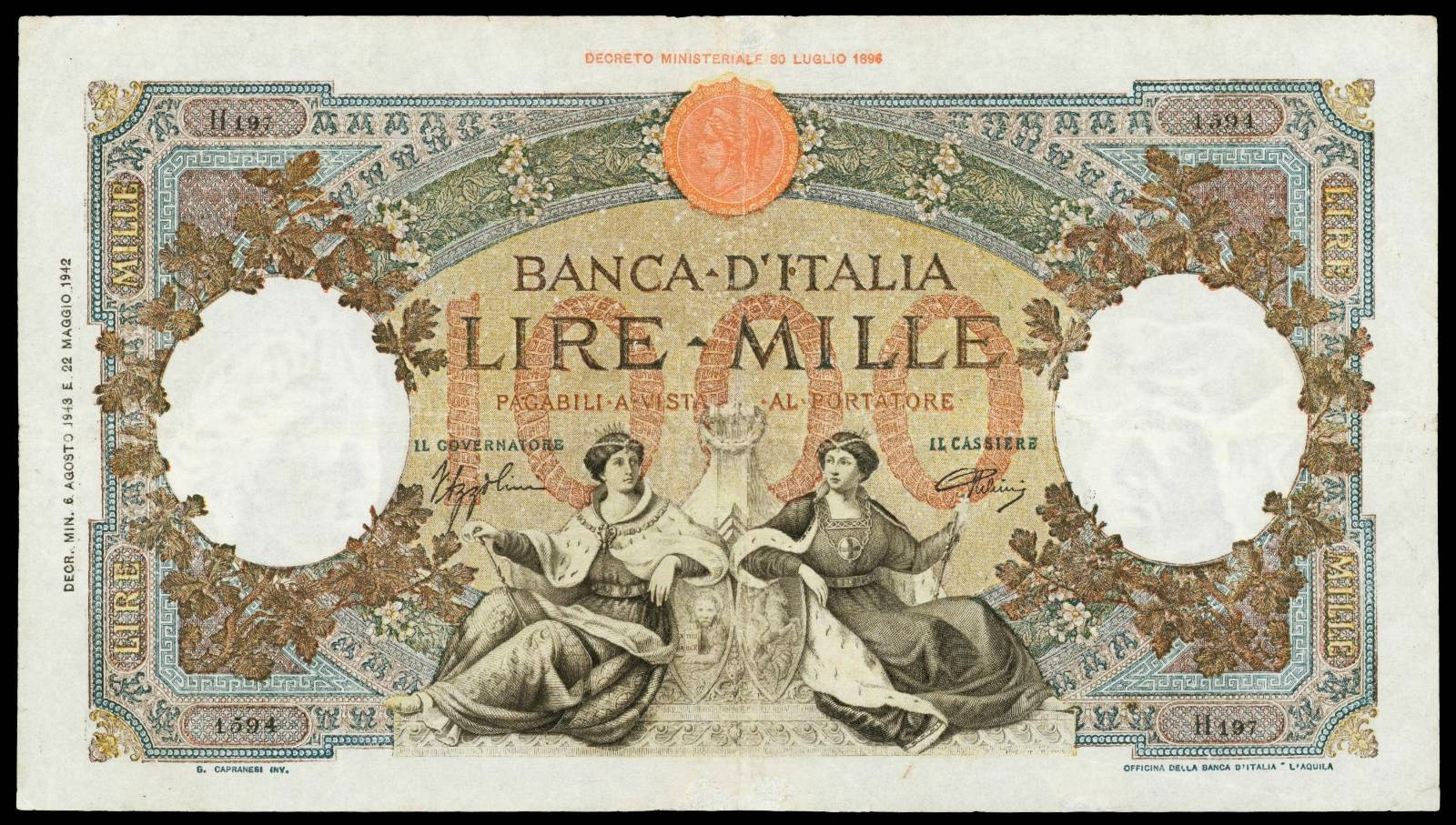Italy 1000 Lire banknote