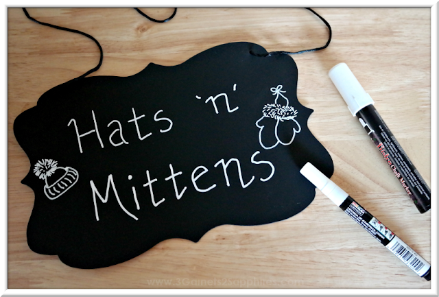 Chalkboard Sign for Hats & Mittens Bin  |  3 Garnets & 2 Sapphires