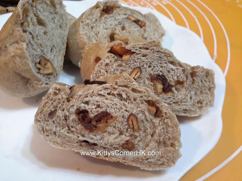 Dark rye longan walnut bread DIY recipe 黑麥龍眼核桃麵包 自家烘焙食譜