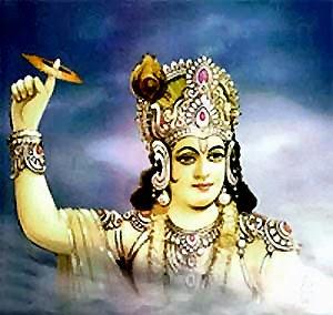 Basudewa Krishna Sedang Mengeluarkan Cakra