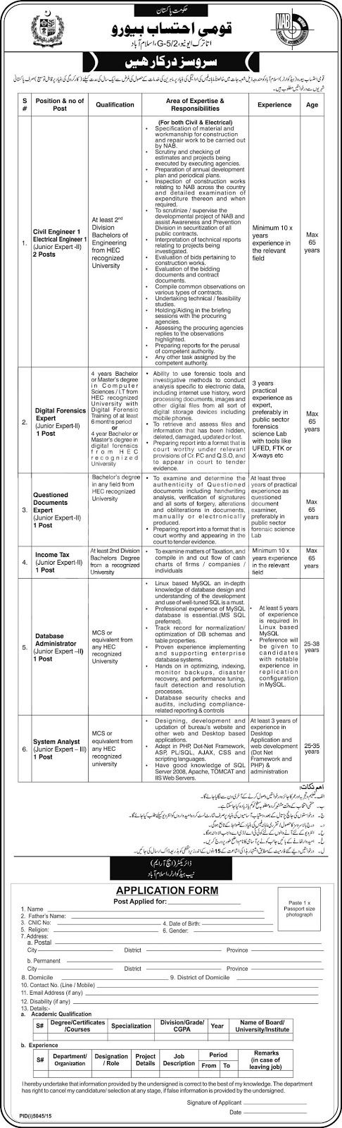 ational Accountability Bureau, Islamabad March Latest Nab Jobs