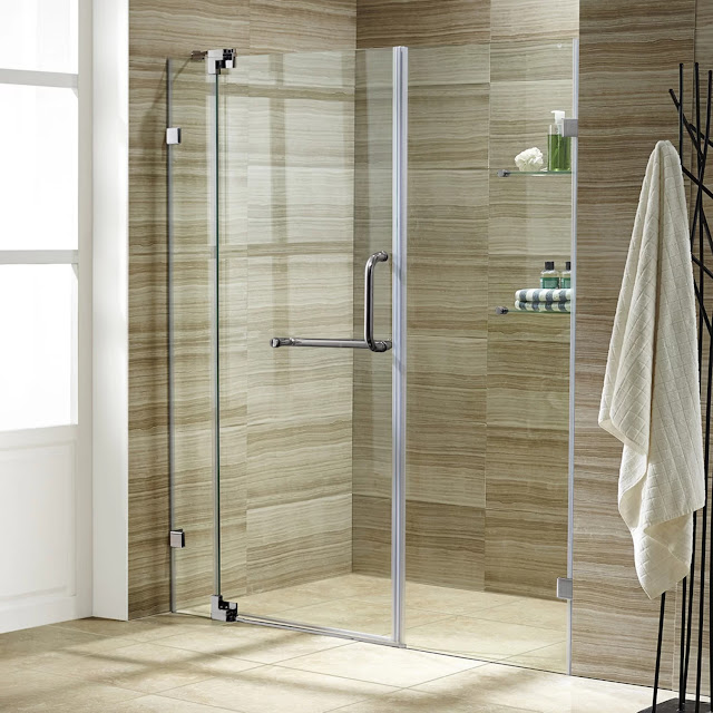 The glass shower doors are a way to save the space