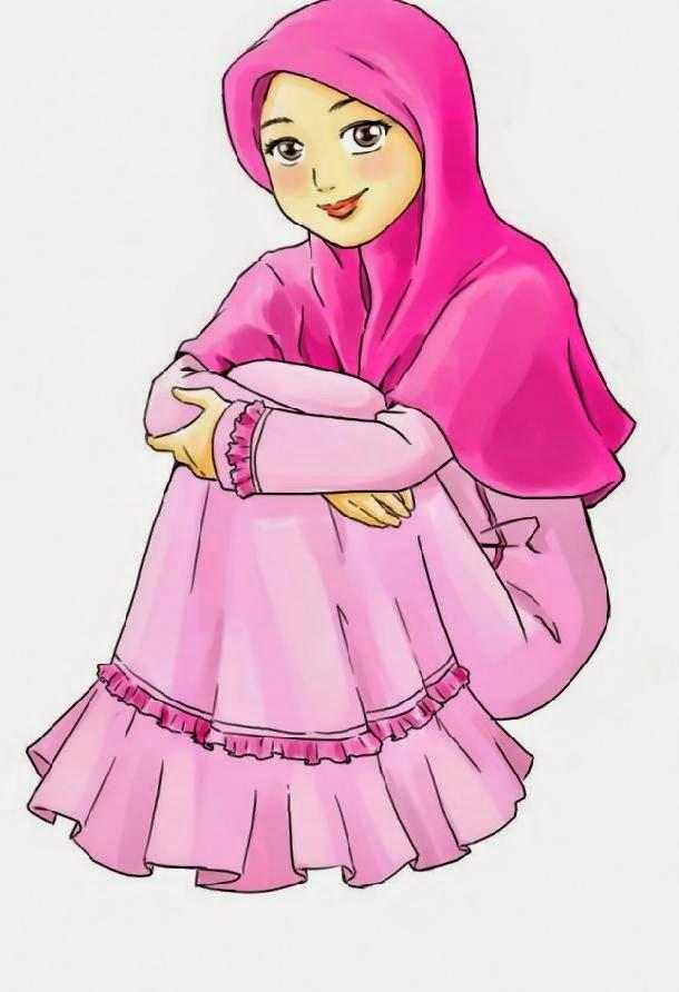 Kumpulan Gambar Kartun Cantik Jilbab Pink