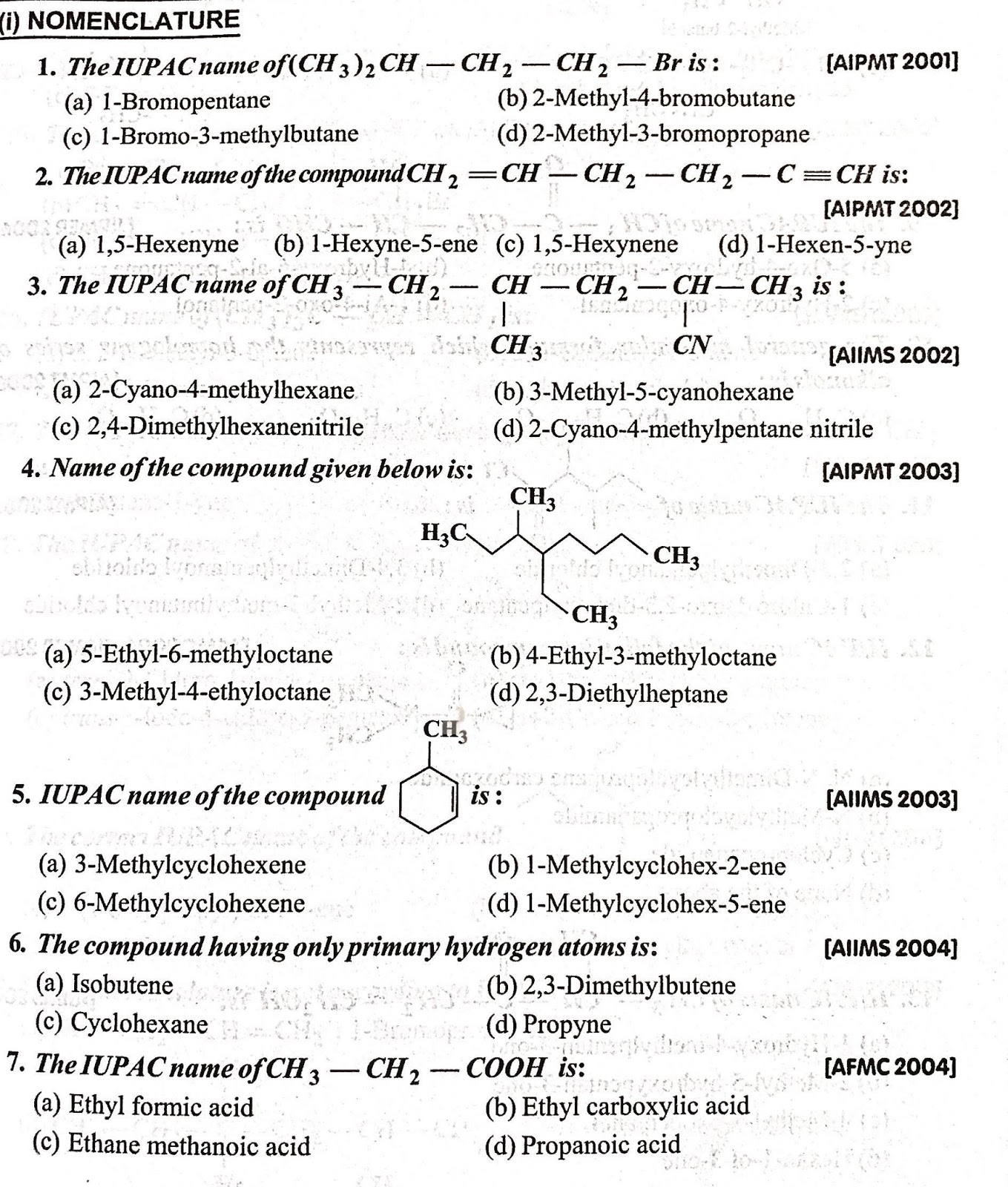 Nomenclature of Organic compounds - MCQ - 2