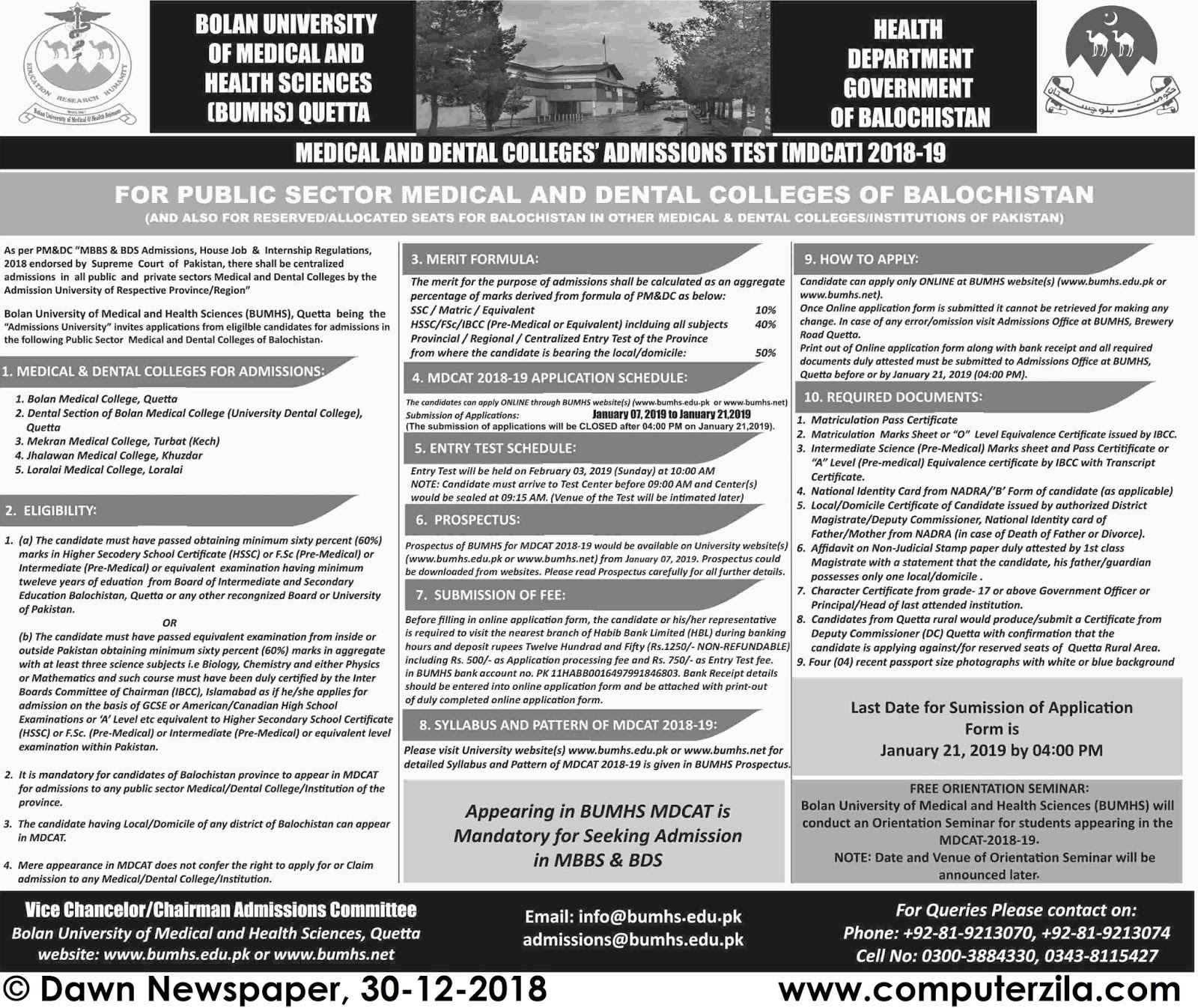 Admissions Open For Spring 2019 At BUMHS Quetta Campus