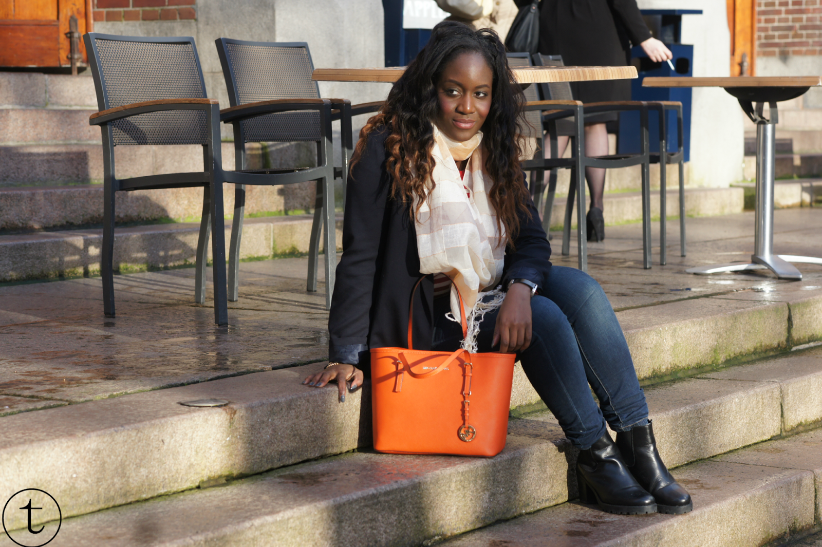outft wearing zara blazer and orange michael kors bag