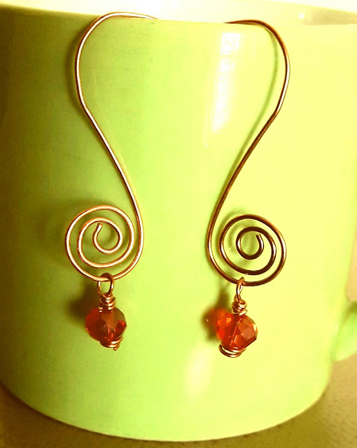 Copper Jewelry, Copper Wire Ear Rings