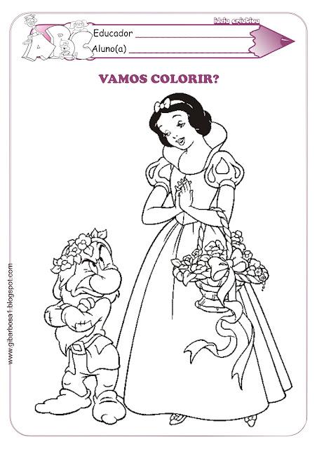 Atividades Conto de Fadas Branca de Neve e os Sete Anões para colorir