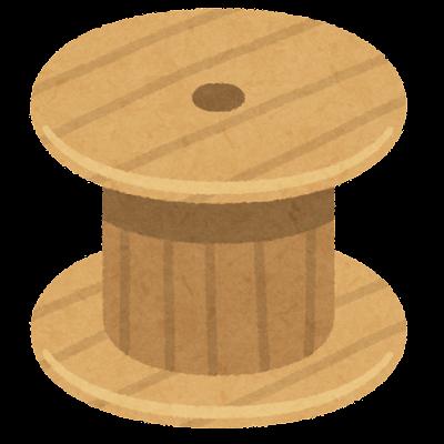 ケーブルドラムのテーブルのイラスト