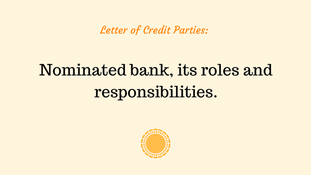Roles and responsibilities of a nominated bank in a letter of credit transaction.