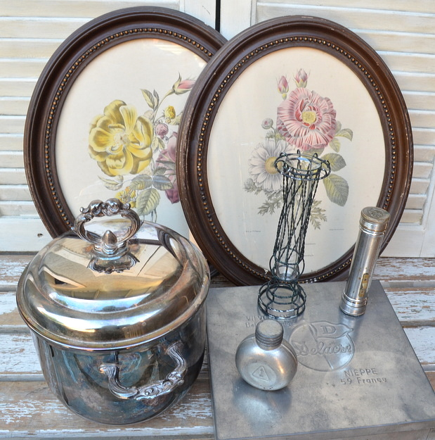 junking finds, silver ice bucket, vintage oval frames and french tin