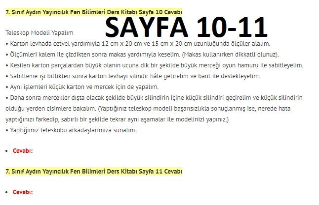 7. Sınıf Fen Bilimleri Ders Kitabı Cevapları Aydın Yayınları SAYFA 10