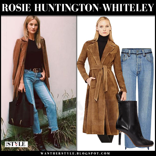 Rosie Huntington-Whiteley in brown suede coat and fray hem jeans vetments what she wore