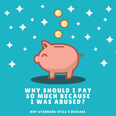 "teal background with stars; piggie bank in the middle with coins dropping into its slot; white text ""Why Should I Pay So Much Because I Was Abused?"" and ""Not Standing Still's Disease"""