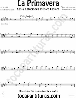 Partitura de La Primavera para Viola de Las 4 Estaciones de Vivaldi en clave de do Sheet Music for Viola The Spring from the Four Seasons Music Scores