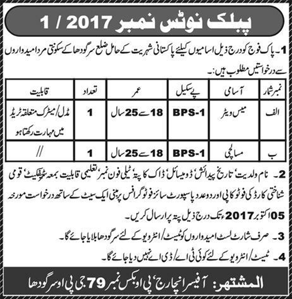 Jobs In Pakistan Army Sargodha 26 Sep 2017
