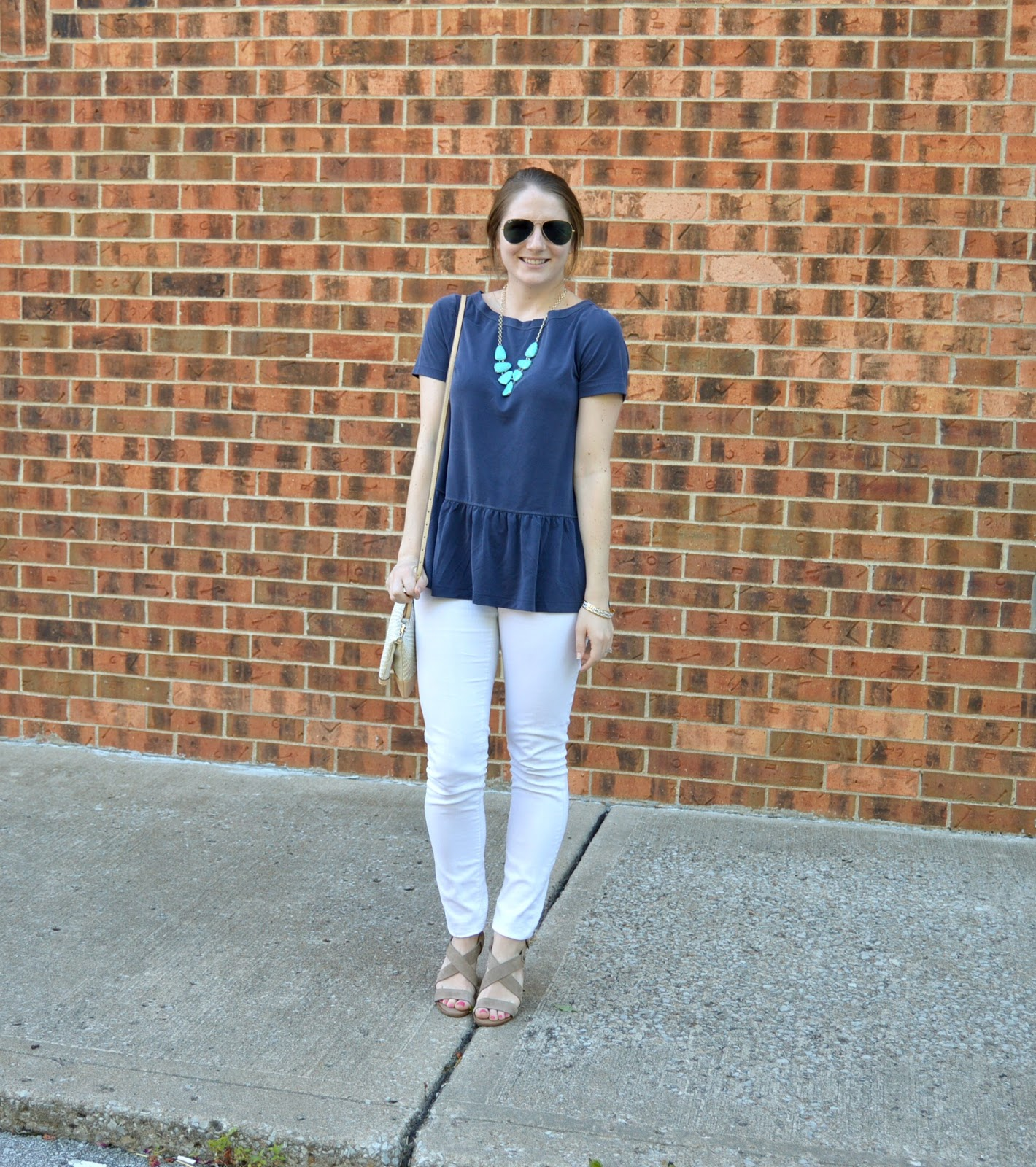 banana republic ruffle hem top with white skinny jeans | your life styled | | #itsbanana | what to wear with white jeans | white denim with a navy peplum top | navy peplum top | cute outfits for summer | what to wear this summer | summer outfit ideas | cute summer outfit ideas with white denim | a memory of us  | kansas city fashion blog