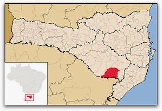 Cidade de São Joaquim, no mapa de Santa Catarina