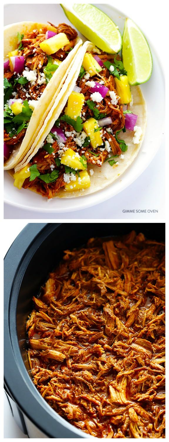 Slow Cooker Tacos al Pastor from Gimme Some Oven featured on SlowCookerFromScratch.com