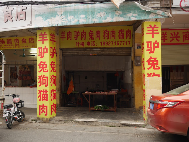 butcher shop with signs indicating it sells goat, donkey, rabbit, dog, and cat meat