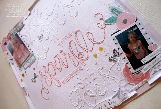 """"""" She leaves a little sparkle"""" layout by Bernii Miller using the Cocoa Vanilla Studio  - Love Always collection."""