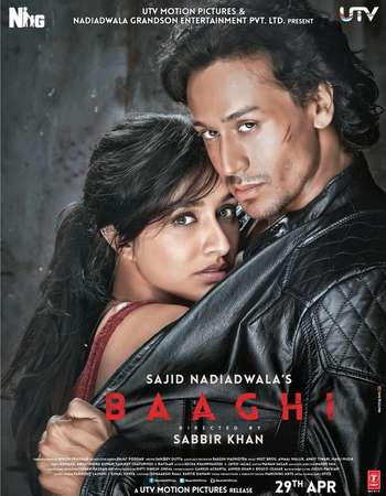 Poster Of Baaghi 2016 Hindi 160MB DVDRip HEVC Mobile ESubs Watch Online Free Download Worldfree4u