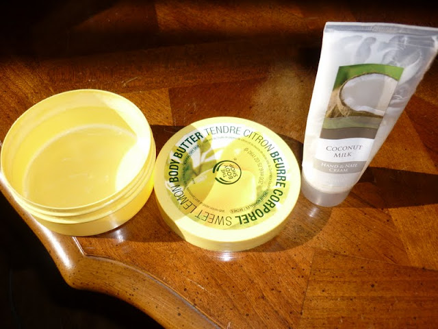 bloggers monthly empties body shop sweet lemon body butter and coconut milk hand cream