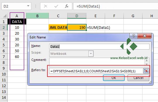 Cara Membuat Nama Range Dinamis pada Excel 1