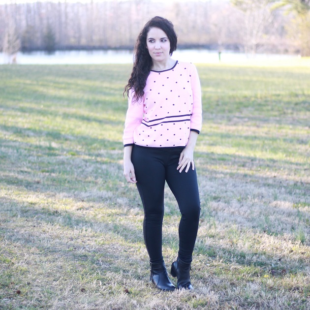 Pink Polka Dot Sweater
