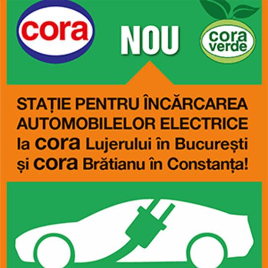 cora Romania deschide statii de incarcare a vehiculelor electrice