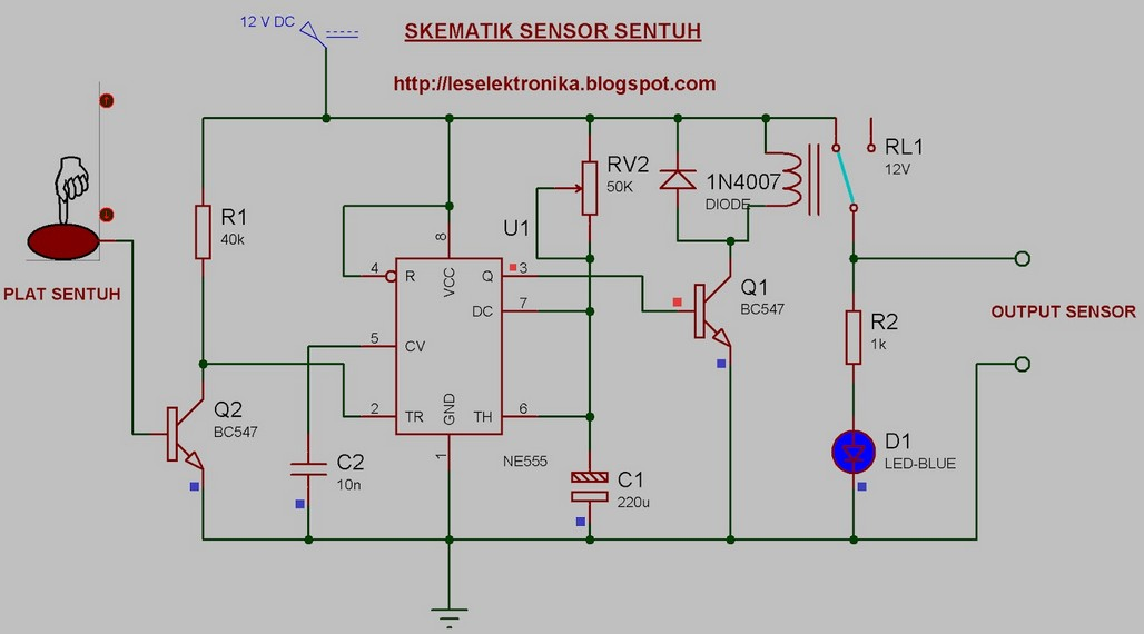 Electronic Circuit Schematic Of Touch Sensor Using NE555